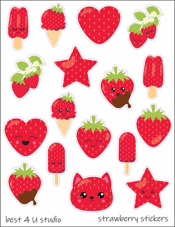 1555~~Strawberry Date Covers Planner Stickers.