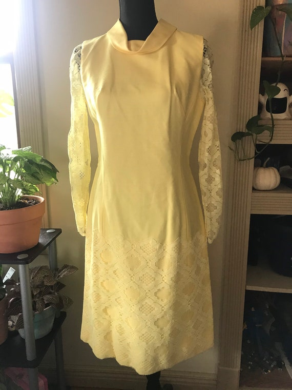 Sunny Yellow Vintage 60s Mod Dress