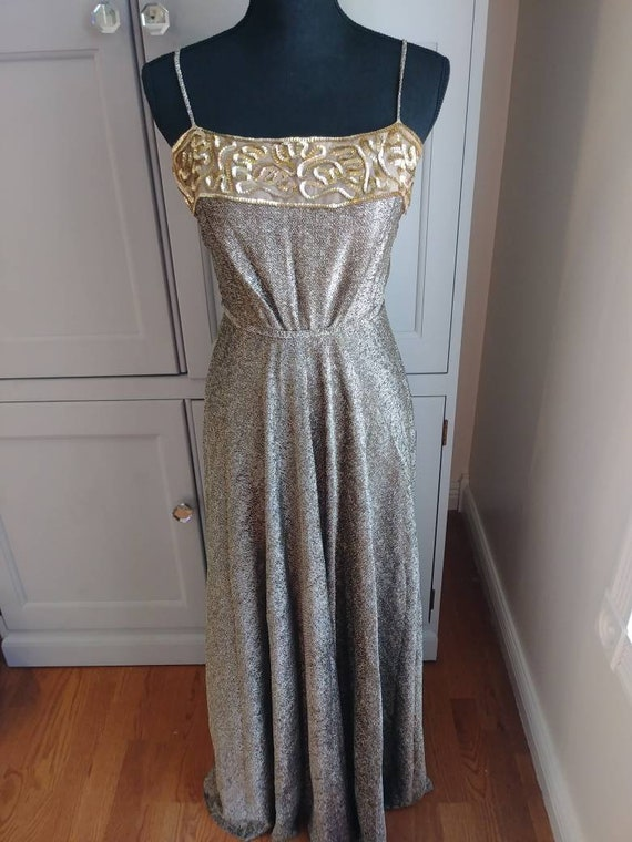 Metallic Vintage 1970s Lilli Diamond Sequin Dress