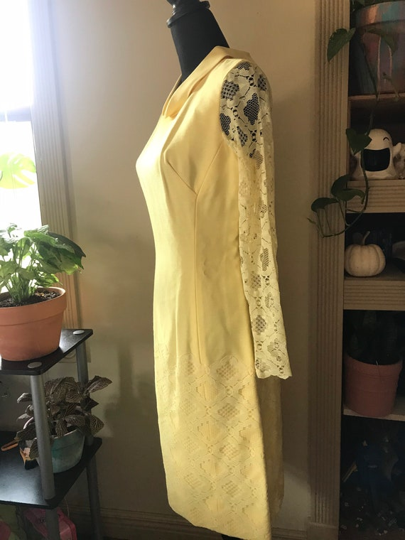 Sunny Yellow Vintage 60s Mod Dress - image 7