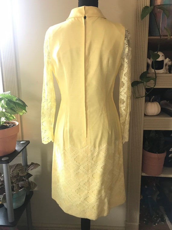 Sunny Yellow Vintage 60s Mod Dress - image 8