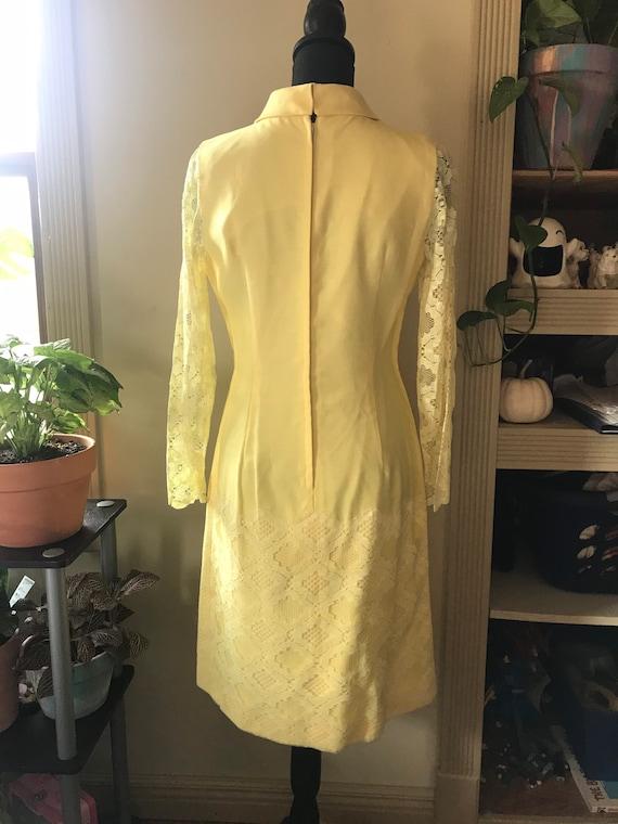 Sunny Yellow Vintage 60s Mod Dress - image 2