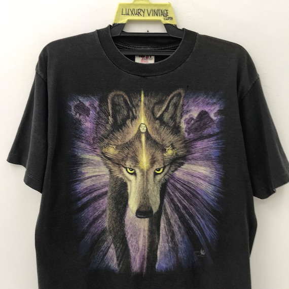 Magic Man And Wolf Vintage 90s T-Shirt Nice Design