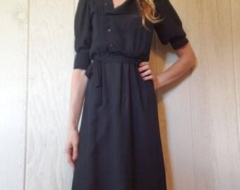 Vintage Sheer Black Dress 80s Knee Length Dress with Sleeves XS
