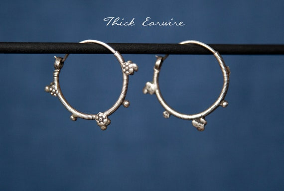 Antique Pakistani Hoop Silver Earrings with Floral