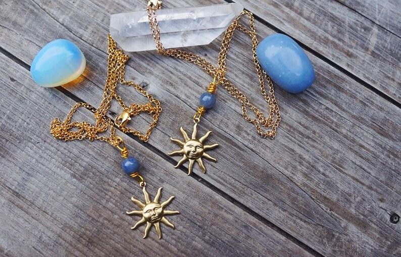 Blue Sun Blue Aventurine /& Brass Sun Necklace