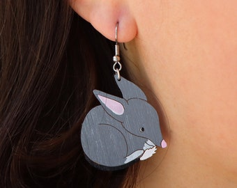 Bilby Dangle Earrings - Australian handpainted sustainable lightweight laser cut bamboo, hypoallergenic surgical steel sterling silver