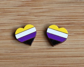 Enby (Non-Binary) Pride Flag Heart Stud Earrings - handpainted sustainable lightweight bamboo ply, hypoallergenic surgical steel, identity