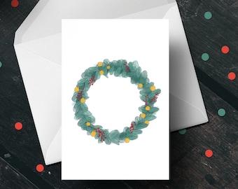 Wreath Holiday Greeting Card - sustainable FSC cardstock, festive seasonal holiday wreath christmas card, original artwork