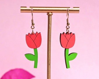 Tulip Flower Earrings in Peachy Pink   Hand painted eco friendly sustainable lightweight bamboo   Hypoallergenic surgical steel