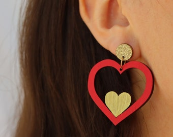 Heart of Gold Valentine's Day Earrings - handpainted sustainable bamboo ply, lightweight earrings