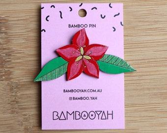 Red Flower Brooch Pin - Christmas Flower Poinsettia Badge