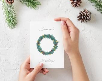 Season's Greetings Wreath Greeting Card - sustainable FSC cardstock, festive seasonal holiday wreath christmas card, original artwork