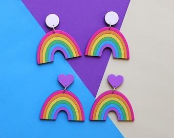 Pastel Rainbow Arch Earrings - handpainted sustainable bamboo ply, lightweight drop stud earrings