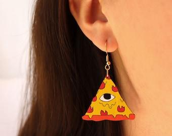 Illuminati Triangle Eye Pizza Dangle Earrings - cute food earrings, pepperoni pizza, lightweight bamboo laser cut sustainable earrings