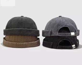 Vintage brimless Hat, Docker Cap, Cotton, Moaccessoires, Gift for Him