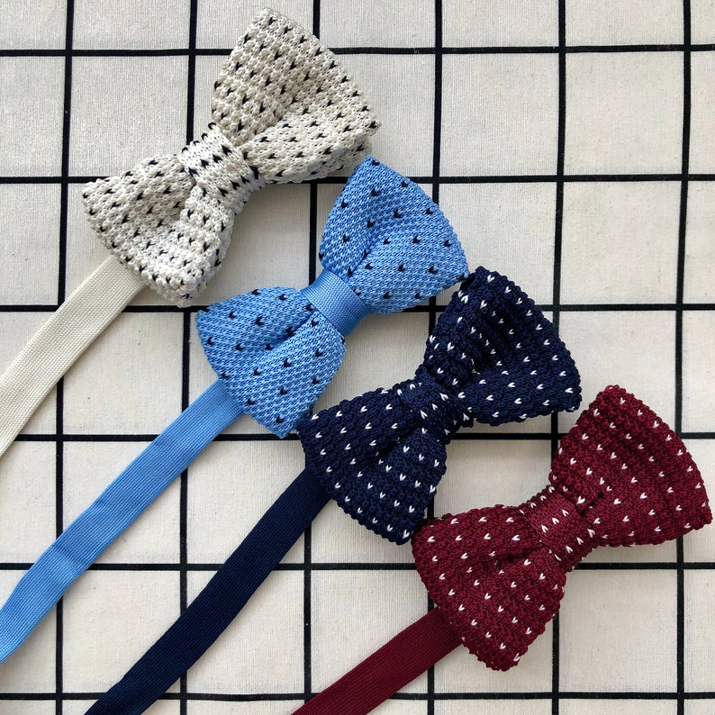 Knitted bow tie in different colours