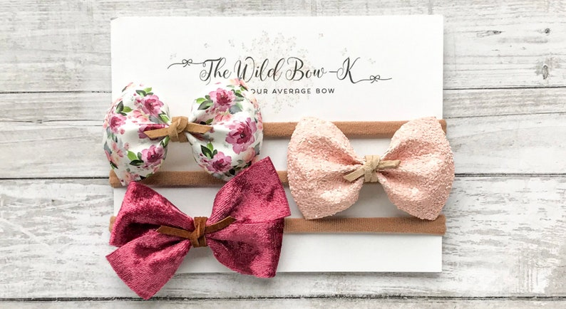 Florally Baby Shower Gift Set Newborn Girl Bow Set Pink Floral Headband Small Baby Bows Flower Print Headband Cute Baby Girl Hair Bows