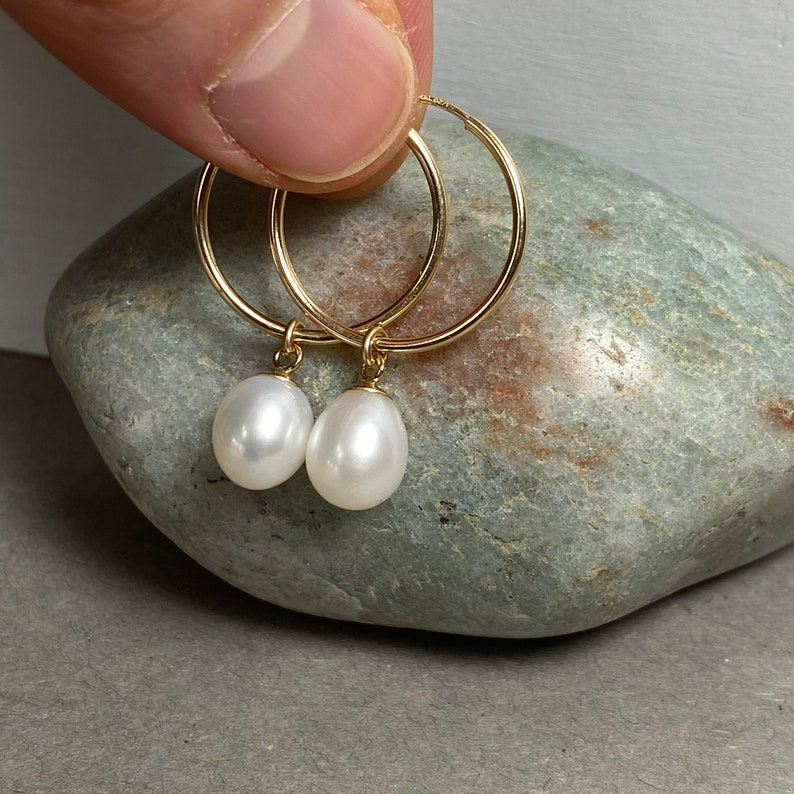 Gold Hoops Hoops With Charm Pearl Charm Hoops Pearl Hoop Earrings Real Pearl Earrings Gold Filled Earrings Gold Hoop Earrings