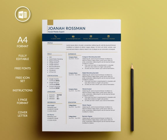 Resume Template Word Cv Template Cover Letter Junior To Etsy