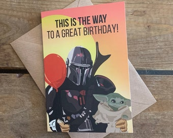 Mandalorian and The Child - Star Wars, A6 Birthday Blank Card