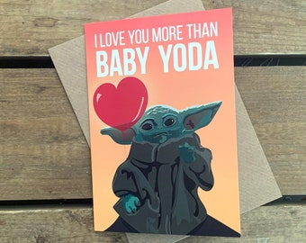 Baby Yoda / Mandalorian - Valentine's Day/ Anniversary A6 Blank Card