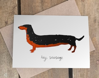 Hey sausage -  Birthday card - Custom name