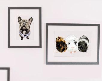 Guinea Pig pet portrait- Digitally hand-drawn