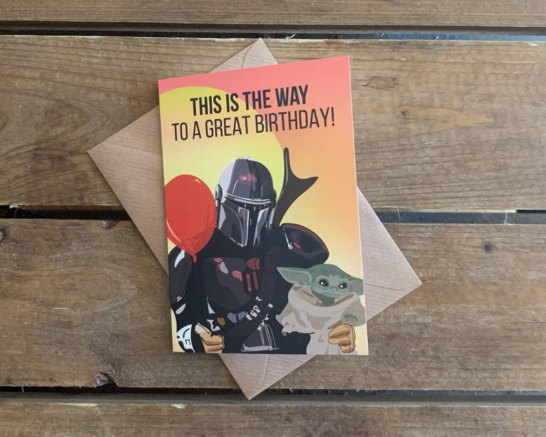 Mandalorian and The Child  Star Wars A6 Birthday Blank Card image 0