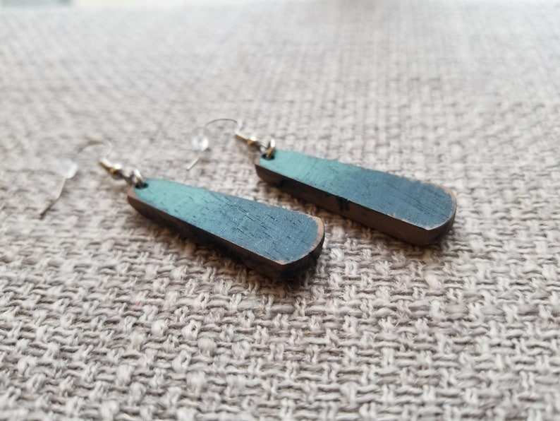 Hand painted lightweight wood earrings ~ Walnut ~ light bluenavydenim colors ~ bar shape ~ stainless steel ear wire