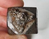 Antique Printer Press Metal Block Letterpress Stamps Dies solid steel deer bust, Antique Die Punch mold, Antique deer face stamp block.
