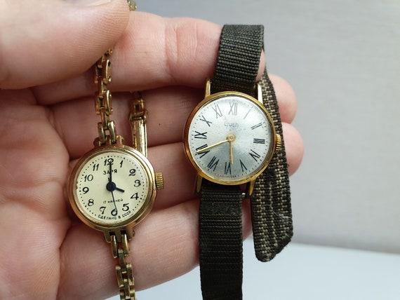 2 Vintage women wristwatch gold plated, women's wa