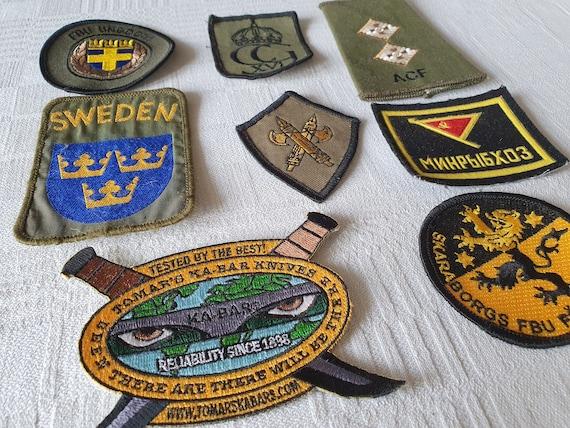 Set of 8 vintage patches, vintage badges, Swedish
