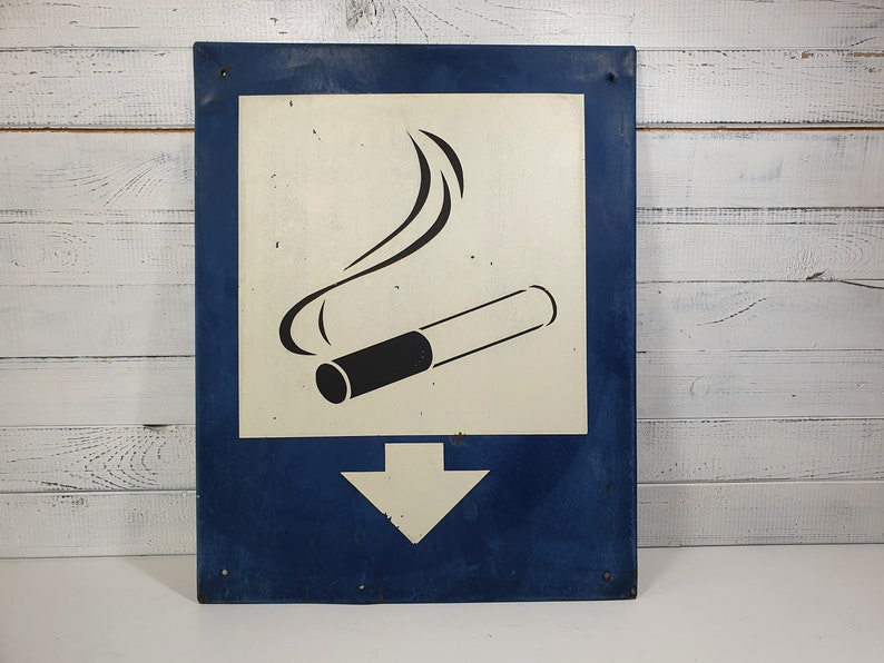 Blue And White Industrial Sign,Vintage Warning Sign Vintage Smoking Sign Industrial Sign Board Smoking Notice Sign Smoking Here Tin Sign