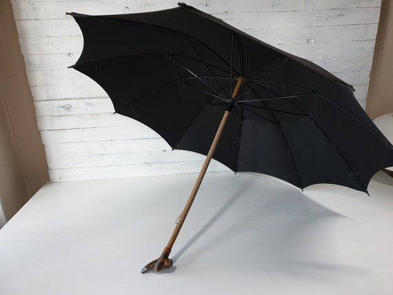 Vintage Umbrella, Working Antique Umbrella, Black