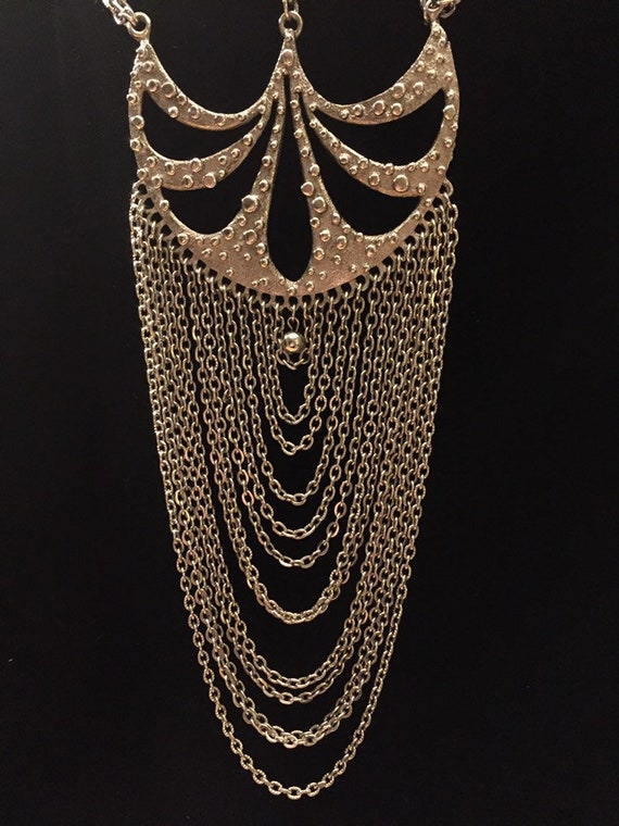 1970s Runway necklace .. dramatic modernist multip