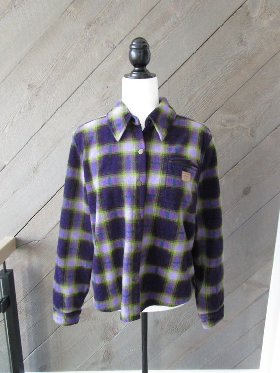 90s Plaid Fleece Flannel Shirt / Purple + Green /