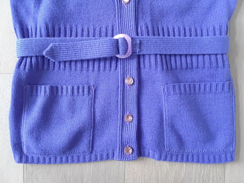 70s Sleeveless Purple Vest  S  Belted Top