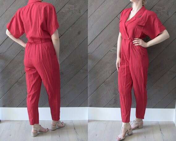 Vintage 80s Red Jumpsuit/ Slim leg Onesie Power Su