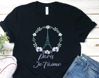 Womens T-Shirt Flower Love Live Paris Print Fashion Print L/'Amour City Print