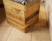 Stool Crate Pallet Ottoman Vanity Cube Storage Reclaimed Wood Made in the USA