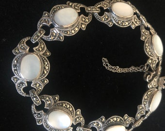 Mother of Pearl Art Deco Style Marcasite Bracelet Sterling Silver 925 RRP €185