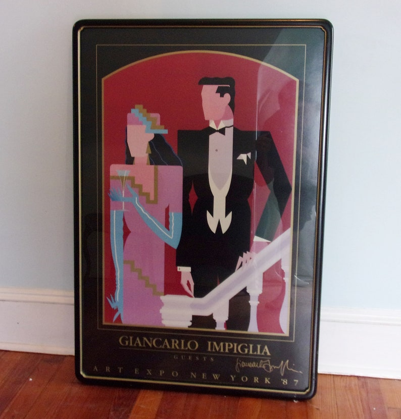 Giancarlo Impiglia 80s Framed Art Print Artwork Deco Art Work 1980s Decor 1987 Art Expo New York RARE Signed GUESTS