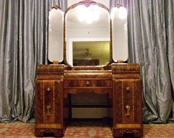 Antique Art Deco Vanity Waterfall Furniture 1930s with Mirror Dressing Table