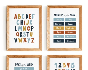 Educational Wall Print, Kids Wall Art, Nursery Printable Set of 4 Prints, Alphabet, Numbers, Days of the Week, Months of the Year