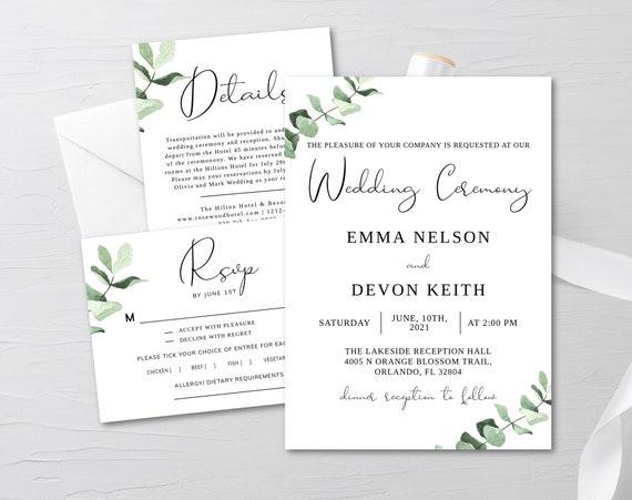 Templett Invitation Details Info Card RSVP Reply Card Greenery Leaves Simple Eucalyptus Wedding Invite Set Editable Template
