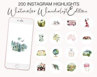 Instagram Highlight Icon, Watercolor Travel Instagram, Wanderlust Travel Highlight Covers, Instagram Stories, Travel Blogger, Social Media