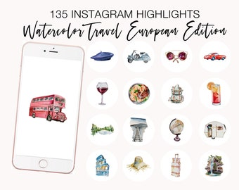 Instagram Highlight Icons, Watercolor Travel Highlight Covers, Wanderlust Highlight Covers, Watercolor Adventure Icons, Travel Blogger Story