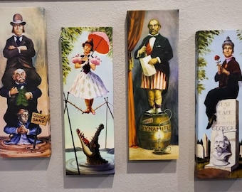 """48"""" x16"""" Haunted Mansion Inspired Stretching Room Canvas Prints 4 Panels haunted mansion stretching portraits"""