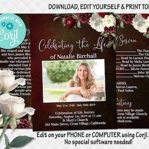 Memorial Service for Woman Celebration Of Life Program Floral Funeral Program Obituary Memorial Program F70 Editable Funeral Template